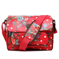 Wholesale Oilcloth Flower - Wholesale- Miss Lulu Women Men Polka Dots Floral Flower Print Oilcloth Medium School College Satchel Messenger Bag Christmas Gift