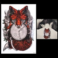Wholesale Tattoos Arm Time - Wholesale- 1 Sheet Tattoo Sticker for Women Men Body Arm Art HB388 Design Red Fox Clock Time Pattern Temporary Tattoos Sticker Unique Gifts