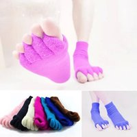 Wholesale Sleeping Hot Massage - hot sale Comfy Toes Sleeping Socks Massage Five Toe Socks Happy Feet Foot Alignment Socks free shipping