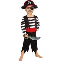 Costume da pirata per bambini con cappello, Eyepatch, Sword per Cosplay Dress Up, Compleanno o occasioni di divertimento
