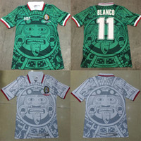 bordado nacional venda por atacado-1998 MÉXICO Equipa Nacional RETRO VINTAGE BLANCO Reminiscência Clássico Camisas De Futebol 98 México Campos Hernandez Camisa de Futebol Bordado logotipo