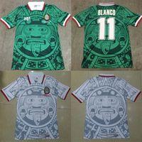 fußballtrikotstickerei großhandel-1998 MEXIKO Nationalmannschaft RETRO VINTAGE BLANCO Throwback Classic Fußball Trikots 98 Mexiko Campos Hernandez Fußball Trikot Stickerei Logo
