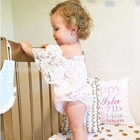 Wholesale Childrens Jumpsuits - Ins Infant Baby Girl Lace rompers Toddler Princess Flutter Sleeve Jumpsuits Babies Summer Romper 2017 childrens clothing