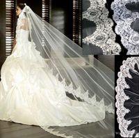 pente do véu do casamento do mantilla venda por atacado-3 metros Branco Marfim Catedral casamento Véus longo Lace Borda Véu de Noiva com Acessórios Casamento Comb noiva Mantilla Wedding Veil