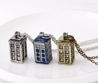 Wholesale Mysterious Box - MOQ 10pcs Doctor who necklace Tardis pendant necklace Mysterious Doctor Police Box Pendant Necklace Chains Jewelry