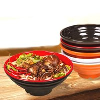 Wholesale Noodle Bowl Soup - Melamine Dinnerware Noodle Bowl Cone Ring Striae Bowl With Chain Restaurant A5 Melamine Bowls Tableware Soup Holder ZA3504