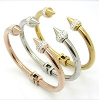 Wholesale Gold Rivet Bangle - Fashion crystal bracelet Stainless steel bracelet Punk wind the little giant rivet conical pointed titanium steel bracelet