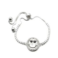 Wholesale Cheap 925 Silver Bracelet - infinity Bracelets 925 Sterling Silver Bracelet With CZ Stone Silver Beads Personality Smiling Face Fashion Cheap Jewelry MB00171