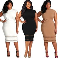 Wholesale Fat Clothing - XL-5XL White Black Hot Selling Wholesale Europe plus-size women's clothing foreign trade fat woman dress pure color gauze splicing dress