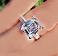 Wholesale Emerald Cut Diamond White Gold - Excellent Cut GIA Certified 6.00 Ctw Emerald Cut Diamond Bridal Set Platinum