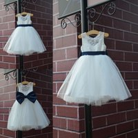 Wholesale bow illusion wedding dresses resale online - Latest Lovely A line Holy First Communion Dresses Lace With Bow Tulle Kids Flower Girls Dresses Robes Filles Fleur