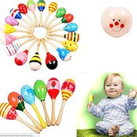 Wholesale Wood Maracas Wholesale - Colorful Baby Toy Wooden Maracas Egg Shakers Musical Toy Baby Rattle Early Educational Toy Hand Trainning Best kid Toys Free Shipping