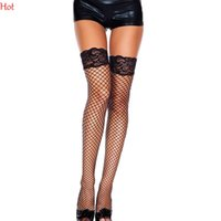 Wholesale Fishnet Thighs - Sexy Thigh High with Lace Top Stockings Christmas Pantyhose Fishnet Stockings Hollow Net Pantyhose Stocking Red Black White Sale SV004820