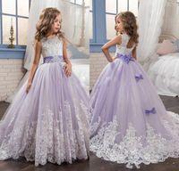 vestidos de niña de flores púrpura con cuentas al por mayor-2017 hermosos vestidos de niñas de las flores púrpuras y blancas con cuentas de encaje apliques arcos vestidos del desfile para los niños vestidos de fiesta de boda para niñas