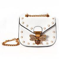 Wholesale European Beads Bee - leather saddle bag bee buckle shoulder bags for women pearl rivet crossbody bag gold chain messenger bags designer handbags brand purse