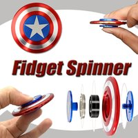 Wholesale Iron Man 12 - Creative Captain America Shield Hand Spinner Iron Man Fidget Alloy Puzzle Toys EDC Autism ADHD Finger Gyro Toy Adult Gifts Free Ship