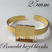 Wholesale Square Bezels - Free ship!!! Bulk 100pcs Gold plated brass metal Cuff bracelet blanks w  25mm Square Caps bezels cameo cabochon setting