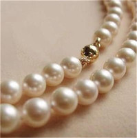 14K Solid Gold CL 8-9MM White Akoya Pearl Necklace 18