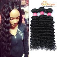 Wholesale Deep Wave Human Hair 3pcs - Brazilian Deep Curly Hair Weft 8A Unprocessed Brazilian Deep Wave Hair Bundle 3Pcs Brazilian Virgin Human Hair Weave Natural Black