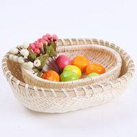 Wholesale Bamboo Flower Basket - bread fruit vegetable woven basket Bamboo weaving elliptical portable basket household adornment flower basket