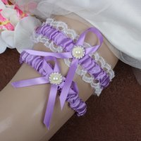 Wholesale Sexy Accesories - 2 Pcs White Lace Lilac Satin Ribbon Wedding Garter Set Free Shipping Crystals Purple Wedding Bridal Leg Garters Wedding Accesories In Stock