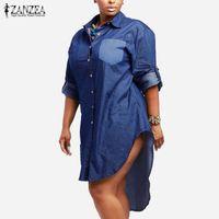 Wholesale plus size irregular hem dress online - Oversized Dress Spring Autumn ZANZEA Women Denim Vintage Lapel Long Sleeve Irregular Hem Long Jeans Blouse Shirt Plus Size