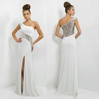 Wholesale Evening Dresses Out Shoulder - Wholesale- women Long Maxi Off one Shoulder Chiffon Sequins Evening Formal Party Dress Gown