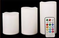 velas de control remoto al por mayor-La luz de la noche de la vela del LED funcionó con pilas 3 unids / set Velas eléctricas del Pilar Controlador remoto multifuncional Color cambiable Safty para Decorar