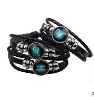Wholesale Libra Bracelet - 2017 Virgo Sagittarius Aquarius Scorpio Libra Capricorn 12 Constellation Bracelet Men Women Braided Leather Bracelets & Bangles