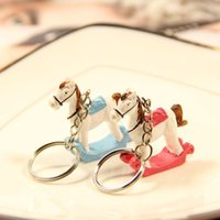 Wholesale giveaways for baby shower for sale - Group buy Rocking Horse Keychain for Baby Born Gifts Giveaways Wedding Favor for Guest Key Chain Keyring Baby Shower ZA4327
