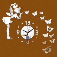 Wholesale Real Butterfly Acrylic - 2016 fashion real Acrylic Quartz wall clock 3d art home decoration mirror butterfly sticker kids decor watch freeshipping
