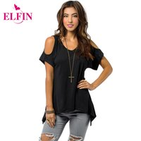 Wholesale Shoulder Cut Shirts - Wholesale- Shoulder Top Women Open Cold-Shoulder V-Neck Short Sleeve Irregular Hem Cut Out Tunic Top Off Shoulder T-shirt Top Tees LJ1270R