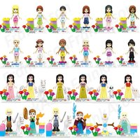 Wholesale Princess Blocks - 24pcs lot Mix Order Princesses Girls Figures Snow White Friends Frozen Elsa Anna Olaf Princess Girl Figure Mini Building Blocks Figures Toy
