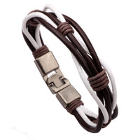 pulsera de la cuerda de cuero del armadura de los hombres pulsera hecho a mano hecha