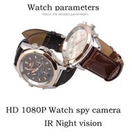 reloj de pulsera al por mayor-Moda ultra-delgada Watch Camera HD 8GB 16GB 32GB cuero Cámara de video audio grabadora de seguridad vigilancia reloj de pulsera mini DVR