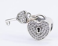 Wholesale Pave Charms - Authentic 925 Sterling Silver White Love Padlock Pave Silver Charm With Cubic Zirconia Fit Original Bracelets DIY Jewelry Making