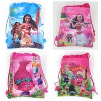 Wholesale Wholesale Woven Nylon Bags - Kids Trolls Backpacks Moana Drawstring Bags Cartoon Non Woven Sling Bag School Bags Party Gift Bag Birthday Gifts 12pcs lot CCA6738 600pcs