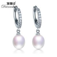 Wholesale Freshwater Pearl Drop Earrings - Wholesale- Top Quality Real Natural Freshwater 3 Color Water Drop Hoop Pearl Earrings For Women
