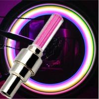 rueda de neumático led al por mayor-LED luces de destello luces de la rueda de la bici cubierta de la válvula de la rueda del neumático Lamo bici de la motocicleta de la bicicleta del coche lámpara de la rueda material de aluminio del neumático LED luz del coche