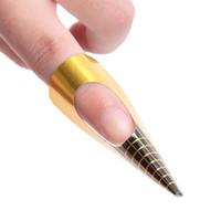 ingrosso carta adesiva acrilica-Wholesale- 1 rotolo 500pc Golden Paper doppio spessore professionale strumento di arte del chiodo per acrilico UV punta di prolunga Sticker Nail Polish Curl Form