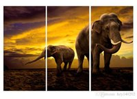 Wholesale Large Painted Canvas Art - YIJIAHE Fashion Print Canvas Painting Art Elephant 3 Piece Canvas Art Wall Pictures For Living Room 16x32inchx3p Large Wall Art DW6