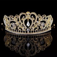 Wholesale Diamond Roses Silk - Bling Gold Silver Crystals Wedding big Crowns 2018 Bridal Diamond Jewelry Rhinestone Headband Hair Crown baroque Party Prom Tiara Cheap