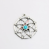 Wholesale Tibetan Silver Plated Dreamcatcher Charms Pendants for Jewelry Making DIY Handmade Craft x27mm