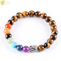 Wholesale Tiger Bracelets Silver - CSJA 8mm Natural Round Stone Tiger Eye Beads Buddha Bracelets 7 Chakra Healing Mala Meditation Prayer Yoga Women Men Rainbow Jewellery E329