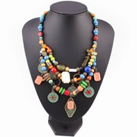 Wholesale Multi Chain Bib Necklace - Wholesale- vintage alloy coin pendant multi color wood bead bib chunky statement women necklace gift 2017 brand new design fashion necklace