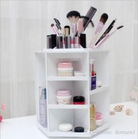 Wholesale White Makeup Storage Boxes - 2017 Limited Plastic Cosmetic Storage Box 360 Degree Rotation Makeup Organizer Boxes Cosmetics Receive A Case Bins