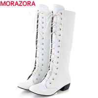 botas altas cómodas sexy al por mayor-Al por mayor-MORAZORA 2016 nuevas botas hasta la rodilla alta moda encaje sexy tacones bajos cómodas de alta calidad otoño invierno botas de mujer