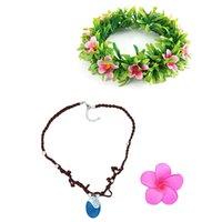 Wholesale Diy Lace Flowers - Cosplay diy Movie Moana Flower Headwear Garland Bride Wedding Headdress Necklace Adult Women Headwear Festival Cosplay Accessories