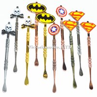 Wholesale New Colorful Stickers - New Arrival Colorful Dabber tool with fashion deign stickers Batman Captain superhero Skull wax Dab tool 120mm Jars Tool