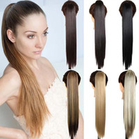 "Wholesale Ponytail Claw Clip Hair Extension - Sara,Neverland Straight Ponytails Claw Jaw Clip in Ponytail Hair Extension 55cm,22"" Similar Human Pony Tail Horsetail Synthetic Hairpiece"
